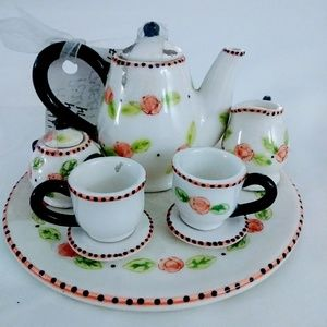 Other - Teaset peach rose miniature porcelain